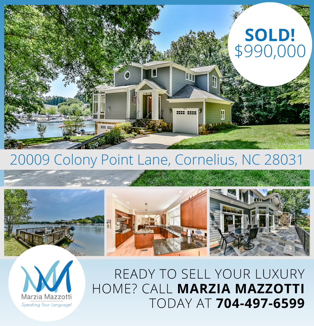 Lake Norman Nc Real Estate: (SOLD) 20009 Colony Point Lane, Cornelius, NC 28031